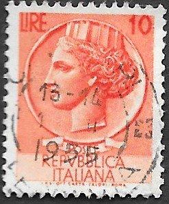 Italy Scott #627 10 l Italia (1953) Used