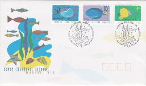 Cocos Islands # 306, 309, 313, Fish, First Day Cover