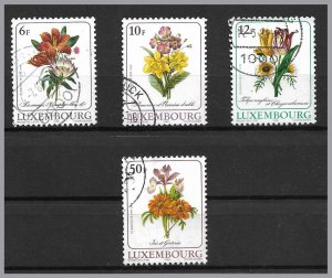 LUXEMBOURG 1988 - Flowers by Redoute Botanic Illu - Used set of 4 - Sc 780-783