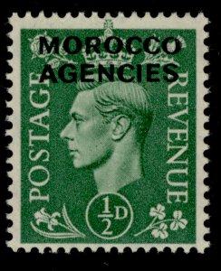 MOROCCO AGENCIES GVI SG77, ½d pale green, NH MINT.