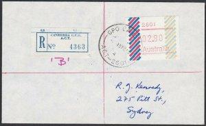 AUSTRALIA 1985 (15 Feb)  $2.80 Frama on Registered cover ex Canberra........E197