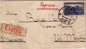 Czechoslovakia 2K Hradcany 1927 Litov Special Delivery to Vel Mezirici.