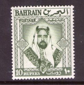 BAHRAIN SG127 10 Rupees Bronze green 1960 lightly hinged.