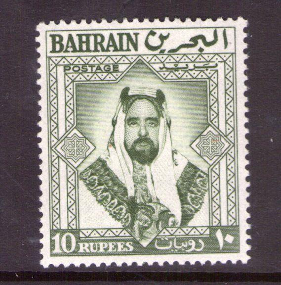 BAHRAIN SG127 10 Rupees Bronze green 1960 lightly hinged.