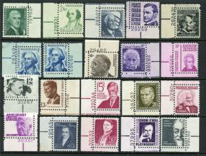 USA 1278-1295 Mint (NH) Complete Set w/Plate Number Singles