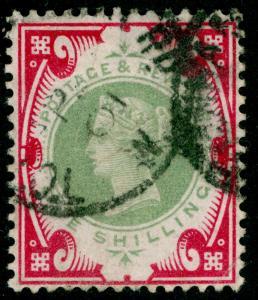 SG214, 1s green & carmine, USED. Cat £140.