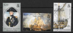 SOLOMON ISLANDS SG1159/61 2005 BATTLE OF TRAFALGAR MNH