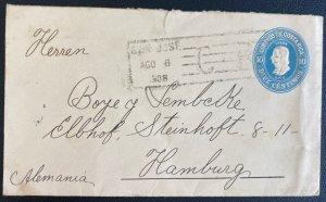 1908 San Jose Costa Rica Postal Stationery Cover To Hamburg Germany