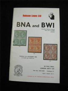 ROBSON LOWE AUCTION CATALOGUE 1975 BNA & BWI INCLUDING JAMAICA 'B PROFFITT'