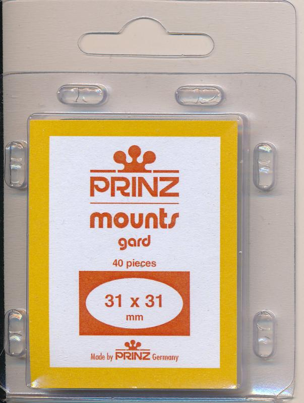 Prinz Stamp Mounts Size 31/31 BLACK Pack of 40