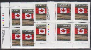 Canada USC #1359c Mint MS Imprint Blocks VF-NH Cat. $30. 1994 43c Flag L Mardon