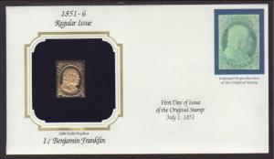 US 1 Cent Ben Franklin Gold Foil Cover BIN