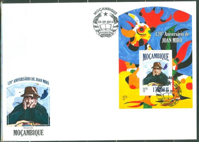 MOZAMBIQUE  2013 120th BIRTH OF JOAN MIRO SOUVENIR SHEET FIRST DAY COVER