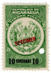 (I.B) Nicaragua Revenue : Duty Stamp 10CD (ABN Specimen)