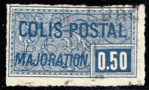FRANCE STAMP PARCEL POST STAMP 1918 -1920 MAJORATION ISSUE 0.50 FR USED IMPERF
