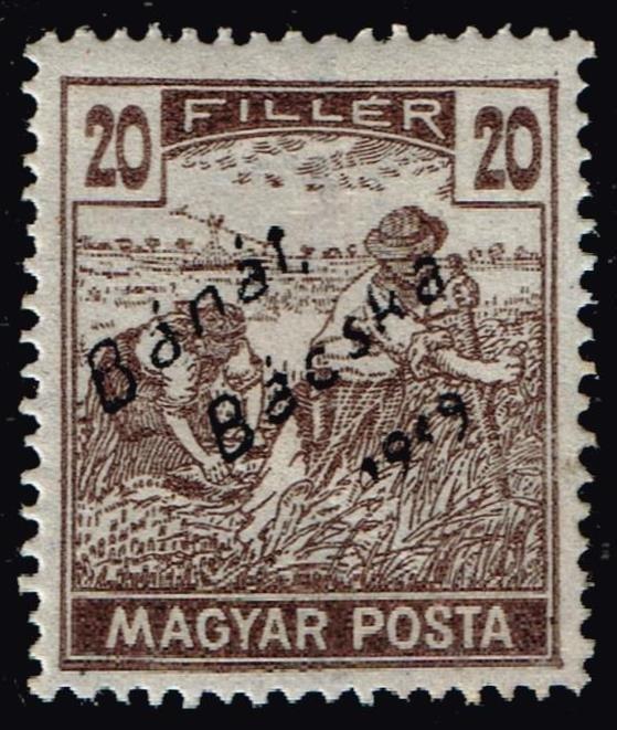 HUNGARY STAMP Banat Bacska 1919 Hungarian Stamp Ovpt. Bánát Bácska 1919 20F