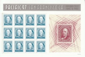 Stamp US Sc 3139 Sheet 1997 Commemorative Pacific 97 San Francisco Franklin MNH