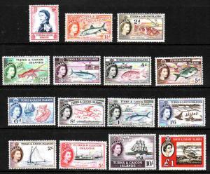 Turks & Caicos-Sc#121-35-unused NH QEII set-1957-60-