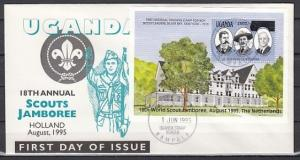Uganda, Scott cat. 1305. World Scout Jamboree s/sheet on a First day cover. ^