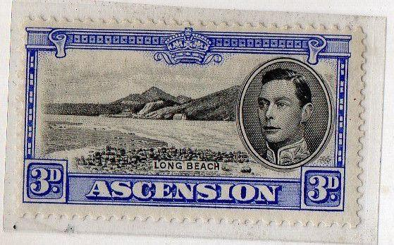 ASCENSION ISLAND 1938 G.VI - 3d SG42 SCARCE Mounted Mint cv 100 gbp