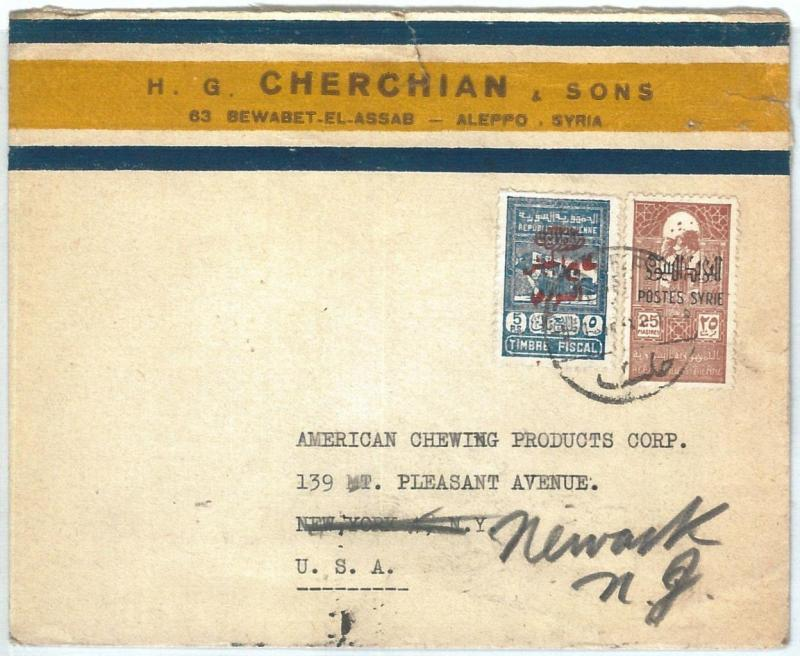 71140 - SYRIA - POSTAL HISTORY -  COVER  to  the United States 1940's - REVENUE