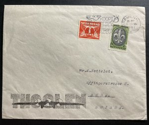 1937 The Hague Netherlands Thoolen Advertising cover To Bern Switzerland