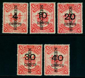 NORTH BORNEO 1895 Coat of Arms SURCH. set w/ SPECIMEN ovpt. Sc# 74-78var mint MH