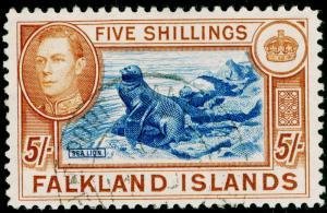 FALKLAND ISLANDS SG161, 5s blue & chestnut, FINE USED, CDS. Cat £90.
