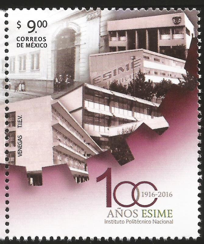 G)2016 MEXICO, SCHOOL BUILDINGS, EMBLEM, 100 YEARS OF ESIME INSTITUTO POLITECNIC