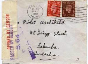 Great Britain 1d and 1 1/2d KGVI 1940 Dundee, Angus to Lakemba, Australia.  A...