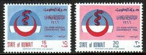Kuwait 319-320, MNH. Fifth Arab Medical Conference. Emblem, 1966
