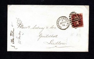 PENNY RED PLATE 173 USED ON COVER WITH 'C&C' (?) PERFIN