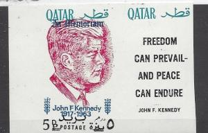 Qatar, MI: 119b, John F. Kennedy Ovpt. Red Imperf Single w/Label, **MNH**