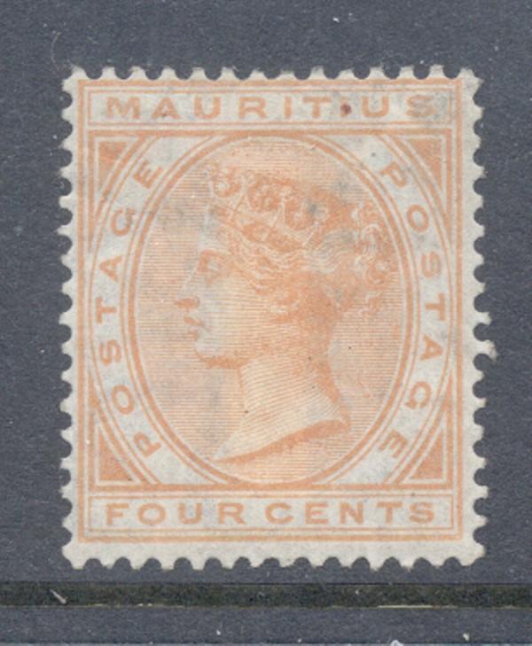 Mauritius Sc 69 1879 4c orange Victoria stamp mint