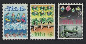Aruba Sailing Parakeet Birds Trees Kites Lizard Child Welfare 3v 1990 MNH