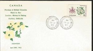 J) 1965 CANADA, PROVINCE THE BRITISH COLUMBIA THIRD SIZE LUMBER, MINING & FISHIN