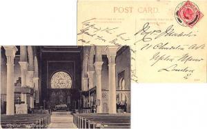 Gibraltar 1d KEVII 1906 Gibraltar, 25 PPC (The Cathedral Interior) to London,...