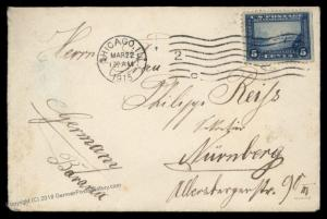 USA 1915 Chicago Nuernberg Germany 5c Panama Pacific Cover 89442