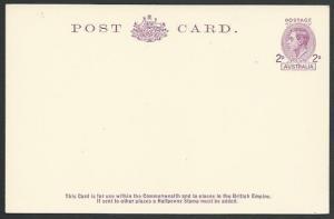AUSTRALIA GVI 2d postcard fine unused......................................12465