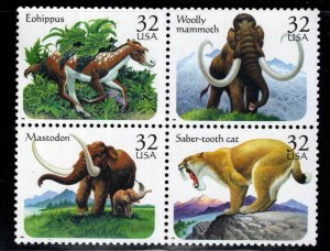 USA Scott 3077-3080a Pre-Historic Mamals