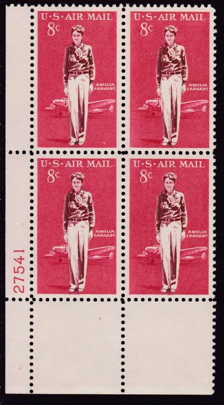 United States 1968  8cent Amelia Earhart Plate Number Block. VF/NH
