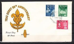 Thailand, Scott cat. 370-372. Thailand Scouts, 50th Anniv. First day cover. #2