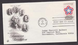 1432 American Revolution ArtCraft FDC with neatly typewritten address