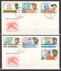 Nicaragua, Scott cat. 1384-1390. Baseball History issue. 2 First day covers. ^