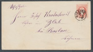 Austria H&G B38 used in Selesia, 1876 5kr red Envelope
