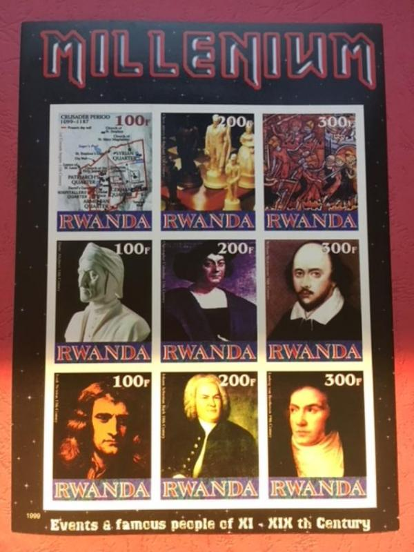 Rwanda 1999 Millennium Events Famous People Beethoven Musician Art Stamps imperf