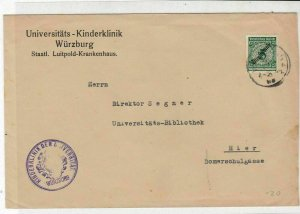Germany  Wurzburg Coat of Arms Slogan Cancel & Official Stamps Cover ref 22942