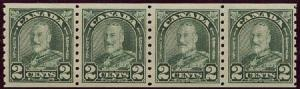 Canada - 1930 2c Green Arch Coil Strip of 4 mint #180