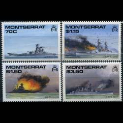 MONTSERRAT 1990 - Scott# 731-4 WWII Ships Set of 4 NH