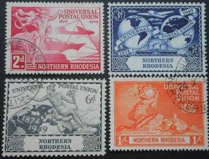 North Rhodesia 1949 GVI UPU set SG 50/53 used
